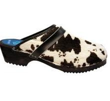 Cow Hide Cape Clogs Black & White