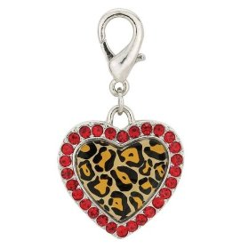 Leopard Print Safari Dog Collar Heart Charm